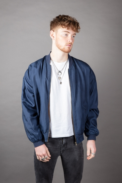 Patched Up Satin Bomber